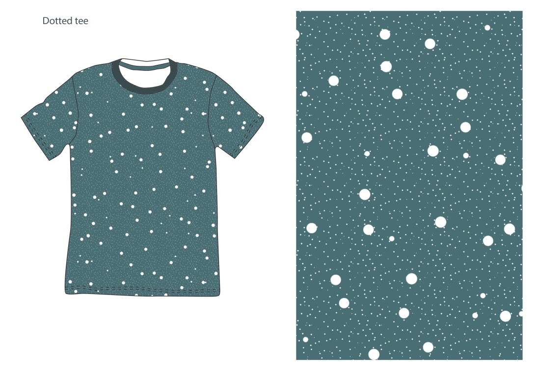 dotted tee blue