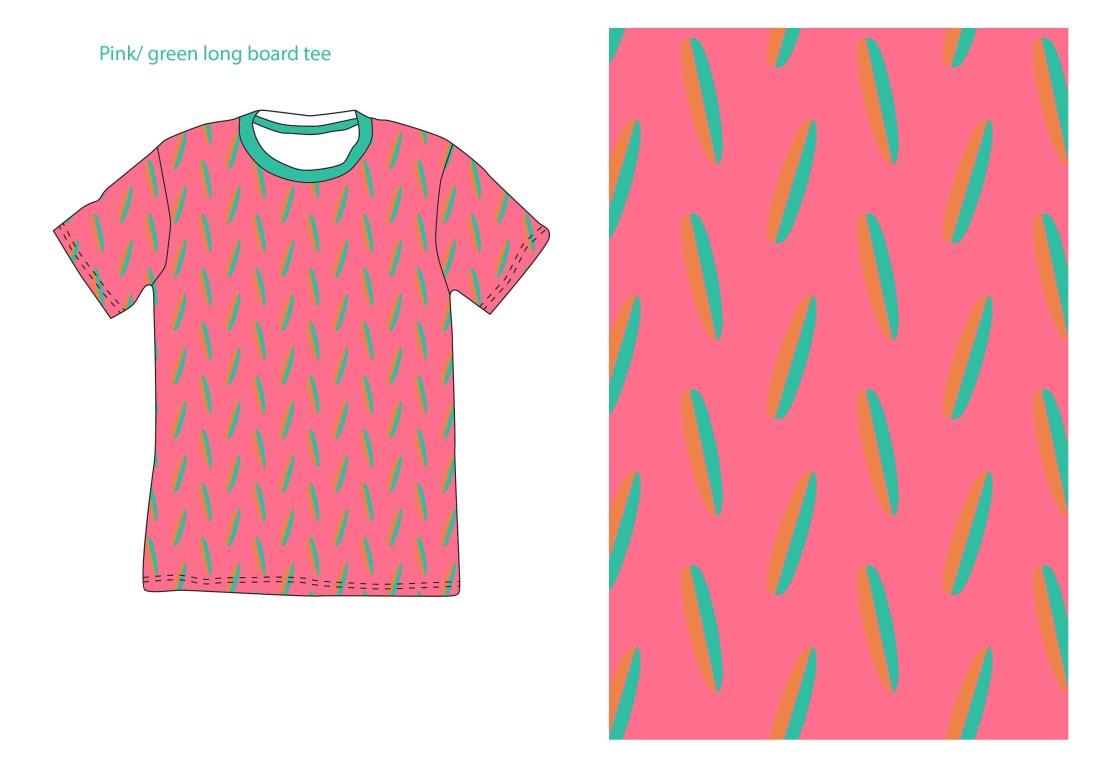 pink surfboard tee green