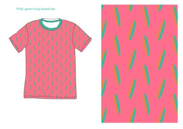 pink surfboard tee green