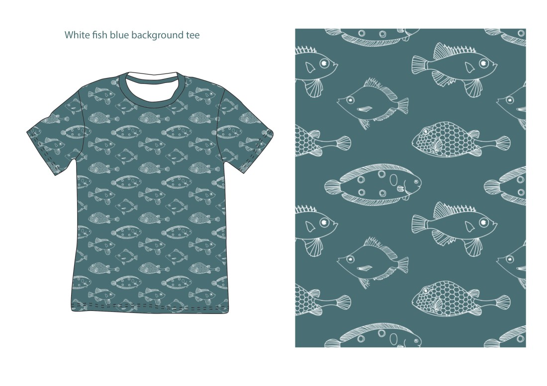 white fish blue background tee