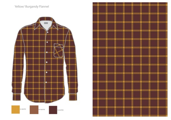 yellow burgandy flannel