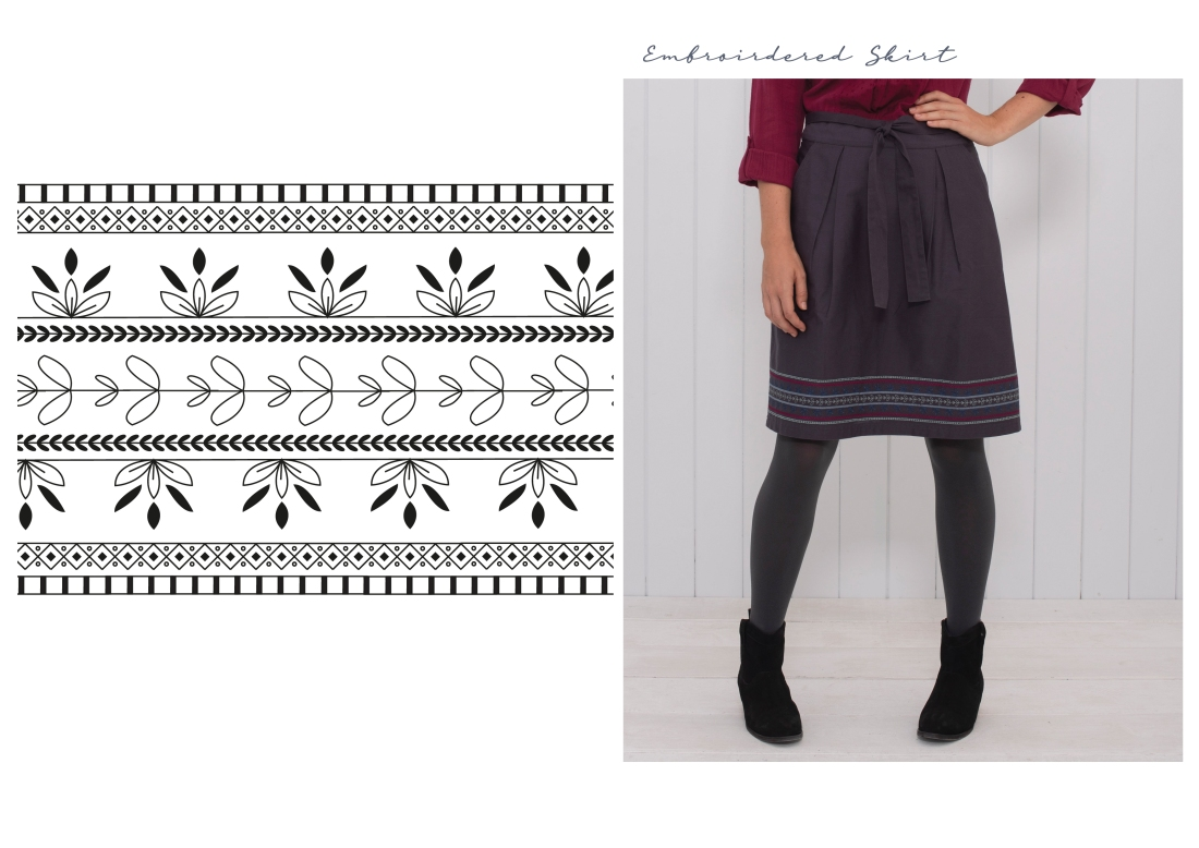 aw18 embroidered skirt