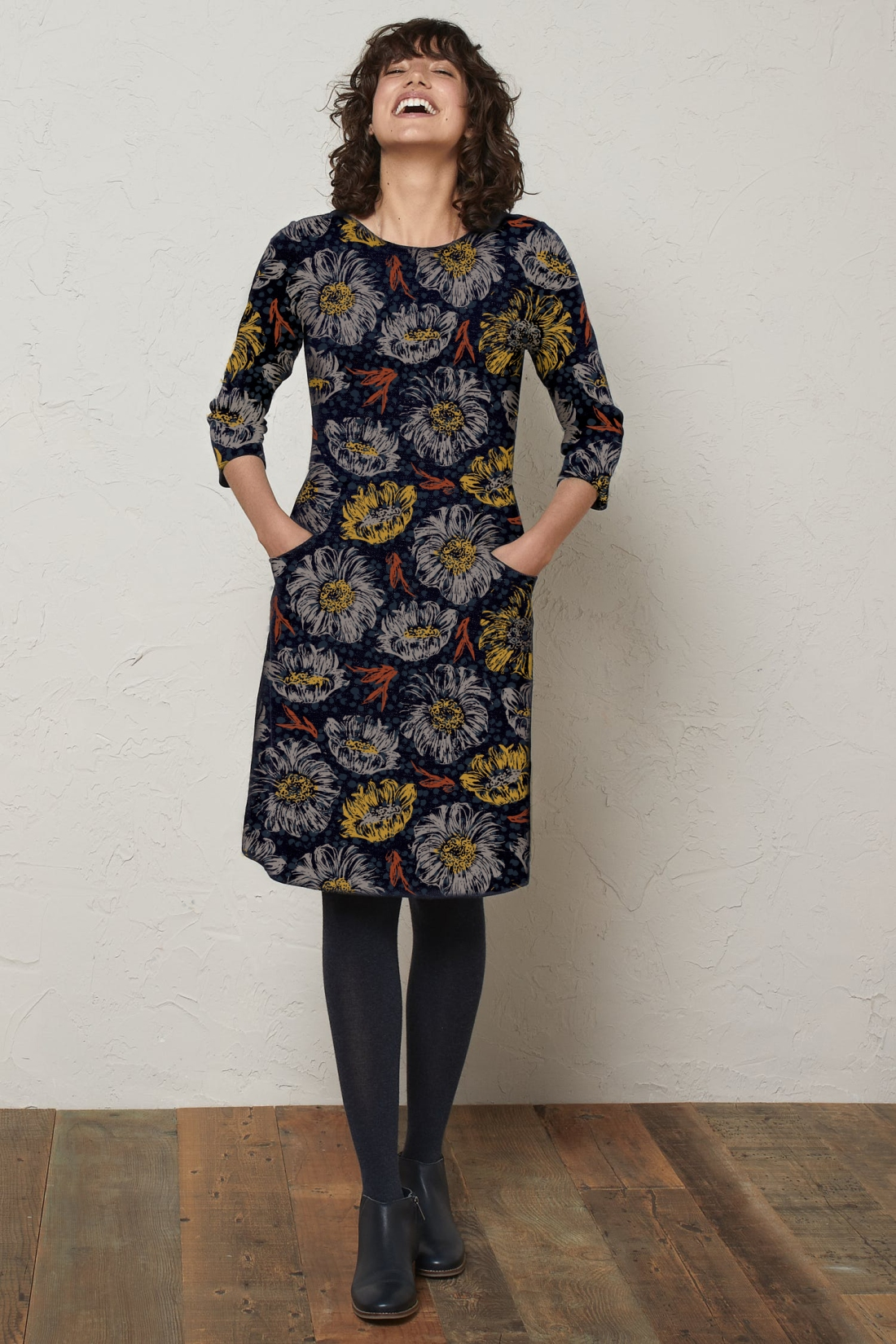 large floral heads navy dress